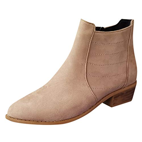 Dorical Damen Ankle Boots Wildleder Reißverschluss Stiefeletten Schuhe Kurze Boot Übergrößen Flandell Ankle Stiefel Schwarz Khaki Gr 35-43(Khaki,37 EU)
