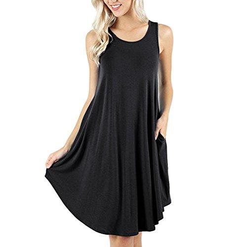 Kobay Damen Ärmellos Kleid Taschen Beiläufig Schaukel T-Shirt Kleider(Large,Schwarz)