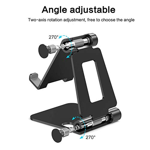 CLAW Mobile Phone Tablet Stand Holder, Fully Foldable & Adjustable Cradle Dock Compatible with All iPhone & Android Phones, iPads, Tablets and Smartphones, Aluminium Alloy (Black)