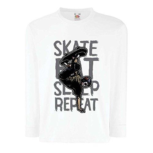 Kinder-T-Shirt mit Langen Ärmeln Eat-Sleep-Skate-Repeat Fro Skateboard Liebhaber, Skateboarder Geschenke, Skateboarden Kleidung (9-11 Years Weiß Mehrfarben)
