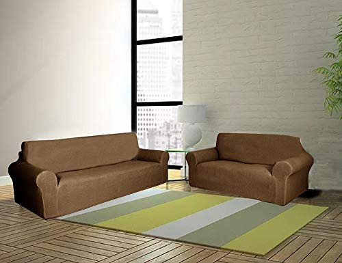 Sapphire Home 2-Piece SlipCover Set for Sofa Loveseat Couch, Form fit Stretch, Wrinkle Free, Furniture Protector Cover Set for 3/2 Cushions, Polyester Spandex, 2pc Slipcover Set, Brown