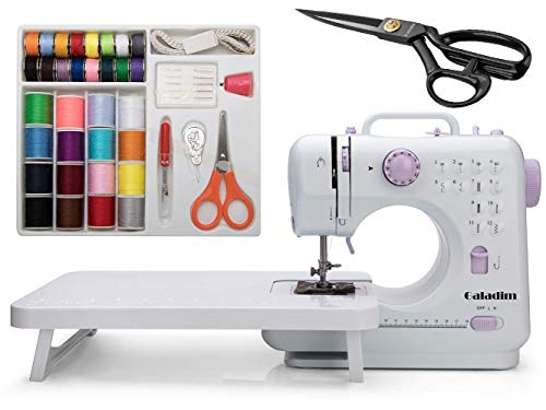 Sewing Machine by Galadim (Brown, 12 Stitches, 2 Speeds, LED...