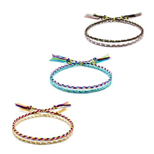 VU100 6 Pezzi Braccialetti Tessuti Fatti a Mano Braccialetto Amicizia Intrecciato per Donna Ragazza Bracciali Multicolore