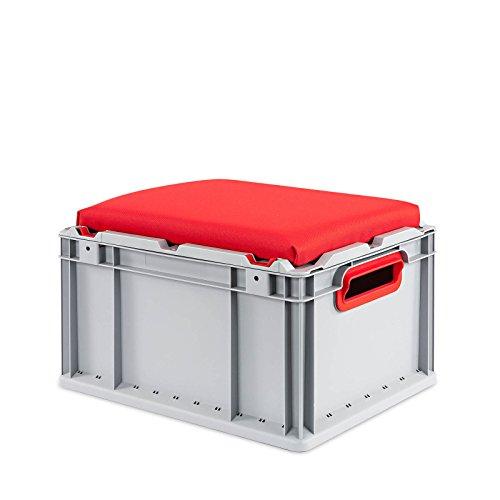 aidB Eurobox NextGen Seat Box, rot, (400x300x265 mm), Griffe offen, Sitzbox mit Stauraum und abnehmbarem Kissen, 1St.
