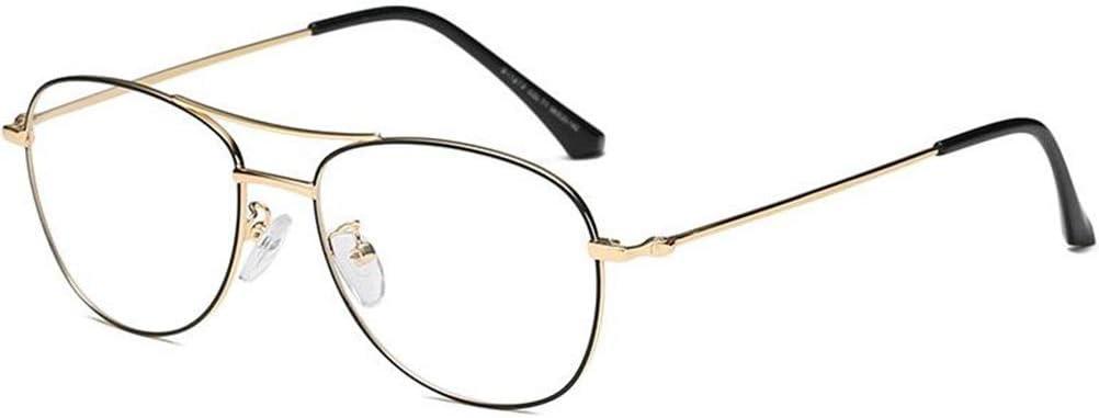 Wtbew-u Miroir Plat Métal Rétro, Double Spectacle Cantilever Cadre Non-Prescription des Hommes (Color : Black Gold) Black Gold