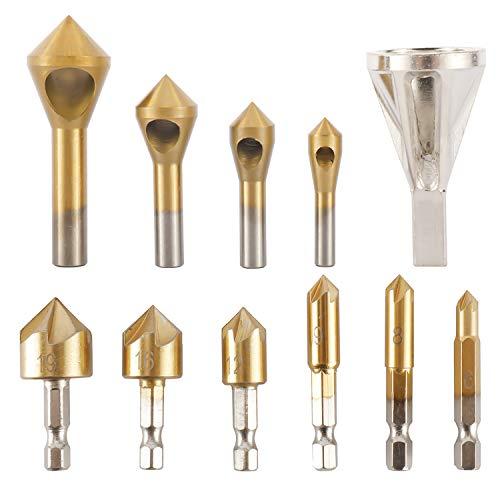 HighFree Chamfer Countersink Deburring Drill Bits Deburring External Chamfer Tool Stainless Steel Remove Burr Tools Countersink Drill Bit for Wood, Fiberboard, Plastic and Aluminum Board