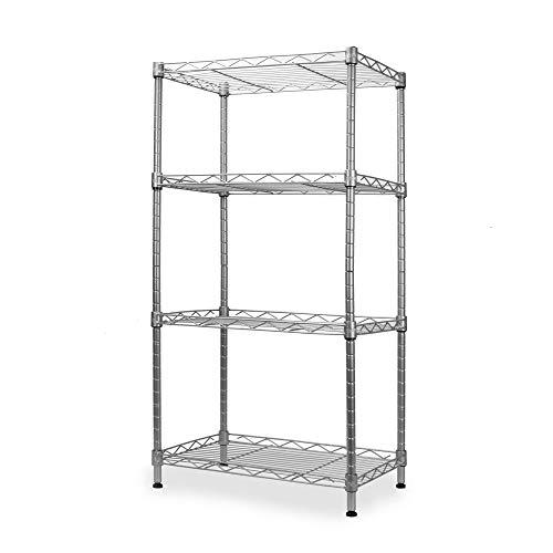 Unité de rayonnage à 4 niveaux | Support de rangement pour cuisine, salle de bains et garage | Organisateur d'étagère debout | Étagères de rangement en métal | Organisation Rack | M&W