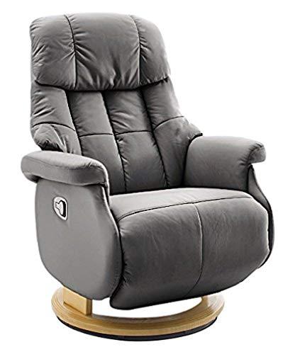 Robas Lund Sessel Leder Relaxsessel bis 130 Kg TV Sessel, Relaxer Fernsehsessel Echtleder schlamm, Calgary Comfort L