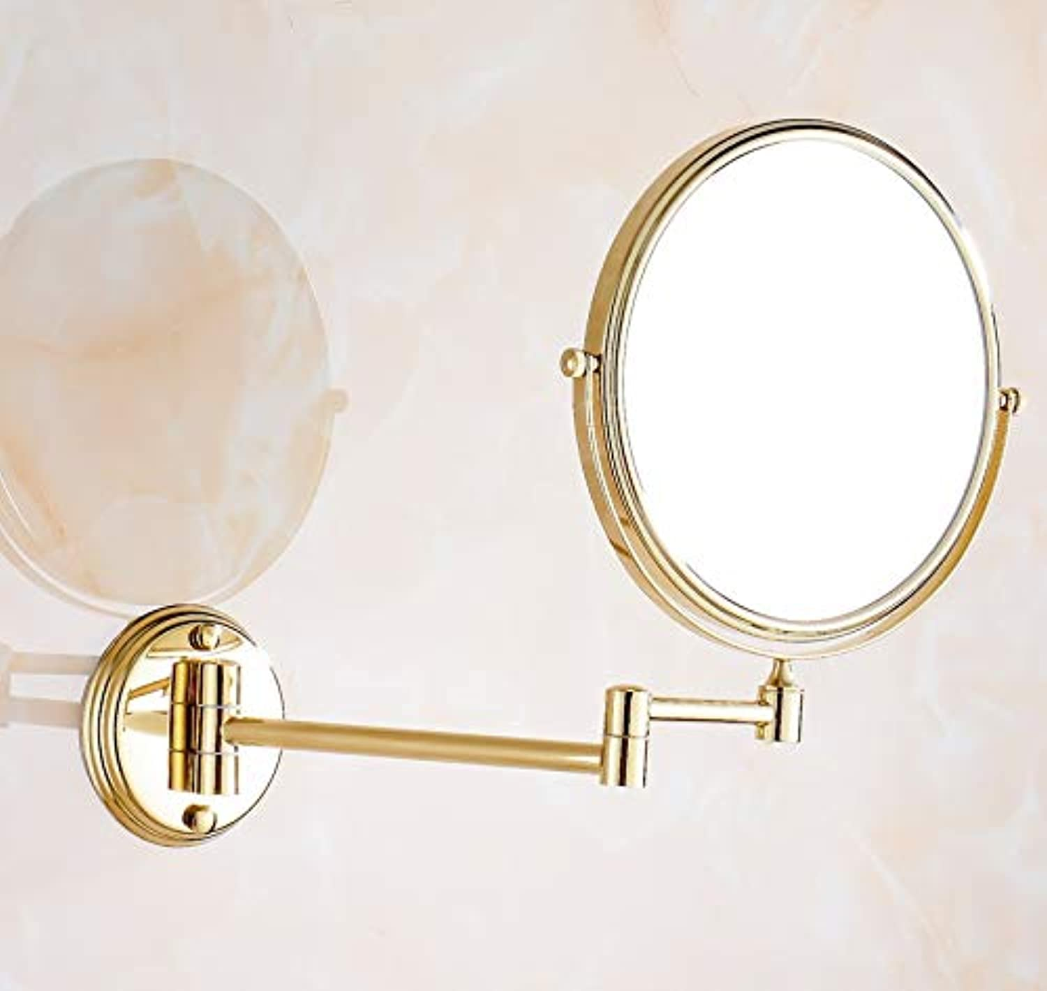 LUDSUY Bathroom Accessories Luxury gold color Brass 8 Bathroom Shaving Beauty Makeup Magnify Mirror Dual Side Wall Mounted ∕ Bathroom Accessory