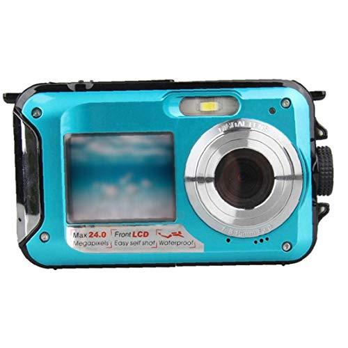 GGOOD Submarina cámara Digital de la cámara 48MP cámara Impermeable con Doble Pantalla para bucear Nadar Practicar Surf Azul, Fotografía