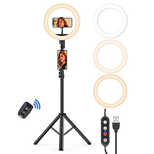 LED Ringlicht mit 160cm Stativständer, 10.2 Zoll Selfie Ringleuchte mit Fernbedienung, 3 Farbe und 10 Helligkeitsstufen Live Licht für Make-up,Live-Streaming,YouTube, Tiktok, Vlog und Fotografie