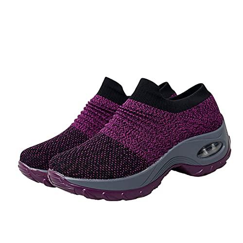 lefeindgdi Zapatos deportivos para mujer, zapatillas, plataforma de malla transpirable, cojín de aire atlético para enfermera, soporte de arco cómodo
