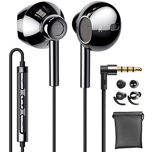 Linklike Quad Treiber 4D Stereo In Ear Kopfhörer 14,2mm Membran Deep Bass Im Ohr Ohrhörer mit Silikon Mikrofon Komfort Headphone Kompatibel mit Samsung, Huawei, Xiaomi, Nokia, Moto, iPhone 6/SE usw