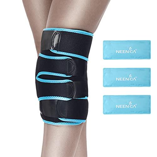 NEENCA Kniestütze mit Eisbeutelwickel, Kniebandage für medizinische Zwecke mit 3 wiederverwendbaren Kalt- / Heißgelpackungen,Verletzungen und Schmerzlinderung bei Meniskusriss, Gelenkschmerzen