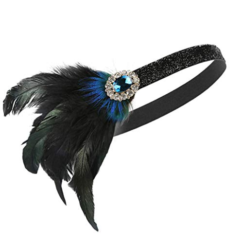 Lurrose hoofdtooi voor vrouwen mannen carnaval 1920 jaar party kostuum accessoires (zwart groen kristal)