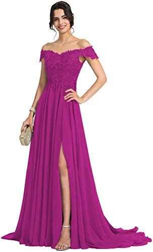 Cloverbridal - Vestido largo de noche con perlas, de gasa, para bodas, fiestas y fiestas fucsia 50