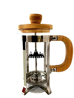 Kushiro Wooden Cafetière French Press Coffee Maker, 350ml/12oz, Silver and Bamboo (Silver)