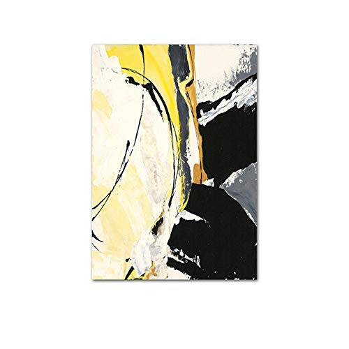 Geel Zwart Modern Abstract Kunstwerk Posterafdruk Eenvoud Decoratief Foto Muurschilderij Woonkamer Decoratie, Foto 4,13x18cm Geen lijst