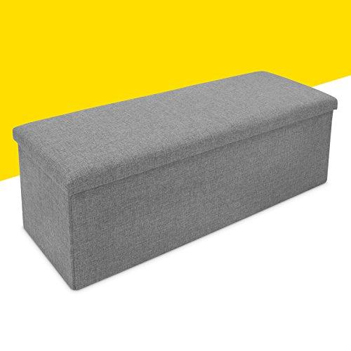 Faltbare Sitzbank mit Extra Stauraum - Grau 110 x 38 x 35 cm - Praktische Aufbewahrungsbox mit Sitzpolster - Grinscard - 2