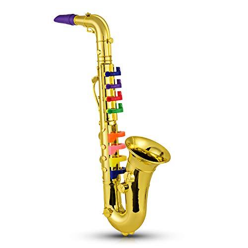 Fesjoy Saxofón Instrumentos de Viento Musicales para niños Saxofón Dorado metálico ABS con 8 Teclas de Colores