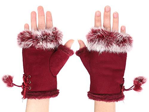 IBLUELOVER Handschuhe Fingerlos Damen Fausthandschuh Simuliertes Pelz Winterhandschuhe Suedette Einfarig Fäustlinge Handgelenk Handwärmer Touchscreen Smartphone Gloves Halbe Fingerhandschuhe