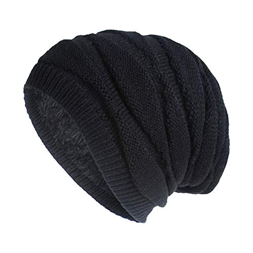 Nogewul Winter Black Slouchy Knit Beanie Hats for Men and Women Polar Fleece Lined Oversized Cable Knit Skull Hat Warm Chunky Knitted Cap for Cold Weather