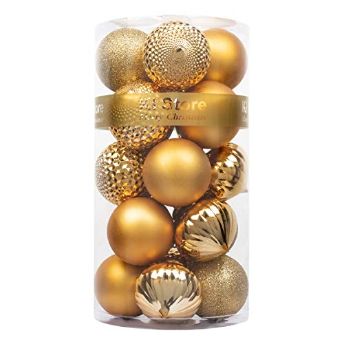 """KI Store 20ct Christmas Ball Ornaments Shatterproof Christmas Decorations Large Tree Balls for Holiday Wedding Party Decoration, Tree Ornaments Hooks Included 3.15"""" (80mm Gold)"""
