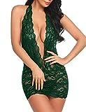 Sexy Vestido Halter Babydoll Encaje,Vestido de Noche de una Pieza Estampado-Verde Oscuro_M,Teddy Body Una Pieza Babydoll