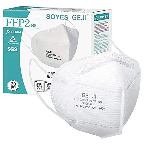 SOYES FFP2 Maske CE Zertifiziert 20 Stück KN95 Maske - 5-lagige FFP2 Mundschutzmasken - FFP2 Atemschutzmaske Masken Gesichtsmaske EN 149 Staubschutzmaske Weiß