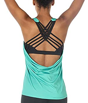 icyzone Yoga Tops Workouts Clothes Activewear Built in Bra Tank Tops for Women  M Florida Keys