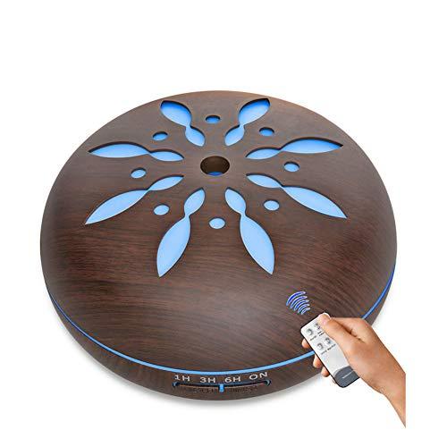 Wlehome Aromatherapie-Maschine, große Kapazität Aroma Diffusor Luftbefeuchter 7 Farben LED beleuchtet ätherisches Öl 550ML für Baby, Yoga, Spa, Haus, Büro, Schlafzimmer, Auto,Brown