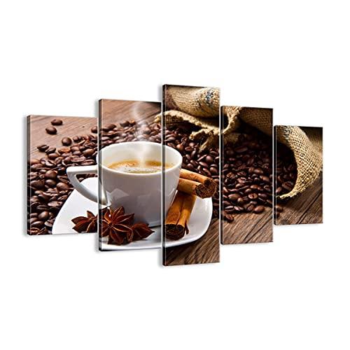 Quadro su tela - 5 Parties - Caffè nero colazione cioccolato - 150x100cm - Pronto da appendere - Home Decor - Stampe su Tela - Quadri Moderni - completamente incorniciato - EA150x100-2152