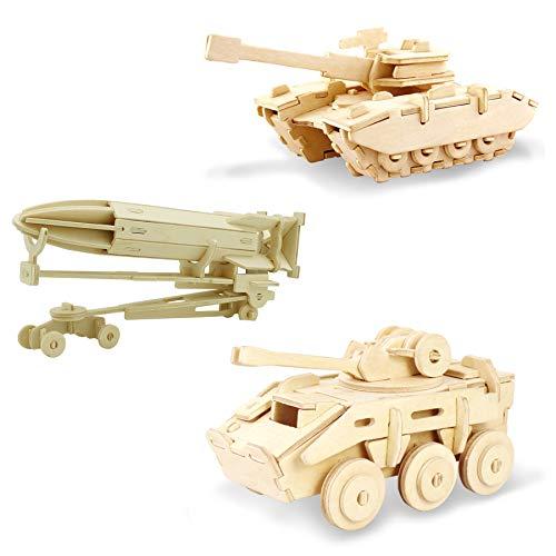 Georgie Porgy Rompecabezas de Madera 3D Puzzle de Modelo Colección de de Animales Juguete de Construcción Kit Kids Jigsaw Toy Edad 5+ (3 Piezas) (Tanque Vehículo Blindado Rocket)