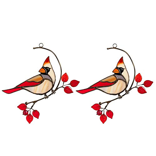 Fensterhänger Dekohänger Vogel zum hängen Moderne Fensterdeko, Hängedeko Metall Vogel Vogeldekorationen für Ihre Terrasse und Garten,15 × 12 cm (B-2PCS)