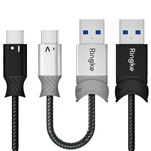 Ringke USB Type C Braided Nylon Smart Fish Data Charging Cable (2-Pack) 4ft 0.6 Feet 20cm USB C to USB A Port Tangle Free High Speed Charging Sync 3.0 Connector