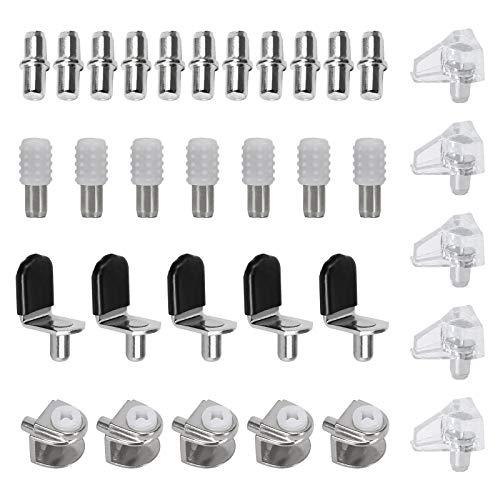FOGAWA 100 Pcs Clavijas de Soporte de Estante de 5mm Soporte para Baldas de Armario e Gabinete Metálico Alfileres para Estantes de 5 Estilos Pernos de Estante con Tapa de Silicona para Estante Vaso