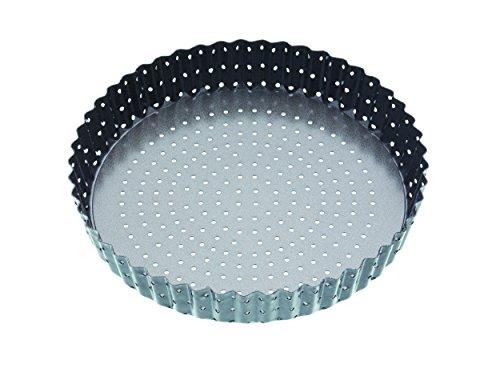 Kitchen Craft Crusty Bake Antihaft-Tortenbodenform/Quicheform mit gewelltem Rand und losem Boden, Stahl, Grau, 23 x 23 x 4.2 cm