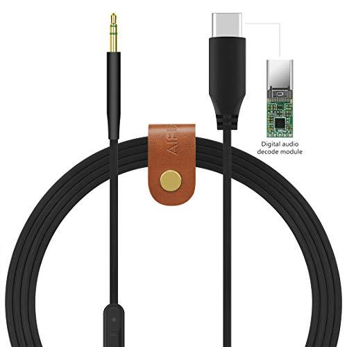 Geekria Type C, USB-C vervangende audiokabel voor Bose ruisonderdrukkende koptelefoon 700, NC700, NCH700, QC35, QC25, koptelefoon met microfoon en volumeregeling, werkt met Android-apparaten (5.5FT)