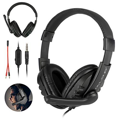 RYRA - Auriculares estéreo para juegos, cancelación de ruido, auriculares con micrófono, almohadillas de memoria suave para ordenador portátil y PC negro