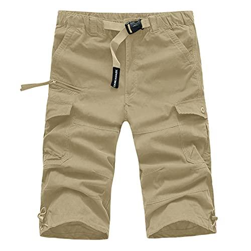 Pantalones cortos de verano para hombre, estilo informal, multibolsillos, para el hogar y el exterior. caqui XL