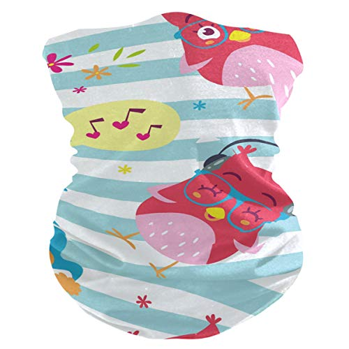 PINLLG Leuke Uil Vogel Muziek Stripe Gezicht Cover Bandana met Filter Wasbare Hoofdband voor Stof Sport Magic Sjaal Nek Gaiter Multifunctionele Hoofddeksels