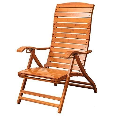 WXF Schaukelstuhl Gartenhaus, Bambus Breite Lamellen Klappbarer Freizeit-Loungesessel Mittagspause Lazy Easy Chair