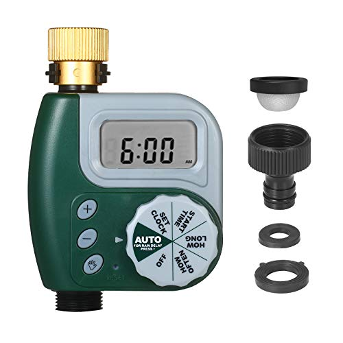 Programmable Water Timer Weatherproof, Kecheer Digital Garden Lawn Faucet Hose Timer Automatic Irrigation Controller 1-Outlet Leakpoof Copper Connector with Stainless Steel Filter