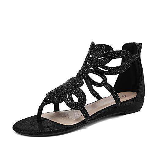 DREAM PAIRS Women's Jewel_02 Black Rhinestones Design Ankle High Flat Sandals Size 7 M US