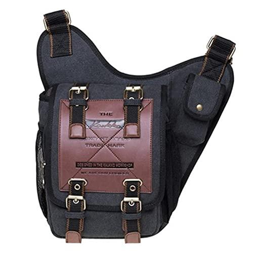 Heshan Bolso de mensajero de lona vintage para hombre PU Patchwork compacto multi-bolsillo Crossbody bolsa de hombro para al aire libre diario