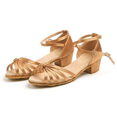 WEXCV Kinder Mädchen Krawatte Ballsaal Latin Tango Tanzschuhe Stöckelschuhe Party Schuhe (EU:27, Khaki)