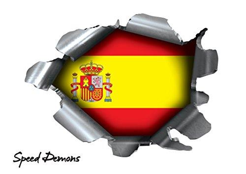 BITS4REASONS Speed Demons Pride Burst Rip Torn Reißfestigkeit Aufkleber Graphic, Selbstklebend, für Jede Oberfläche inkl. Laptops und Autos–Spanien Spanisch Espana Flagge