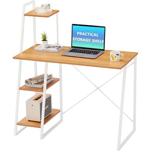 Computer Desk with Shelves,Writing Desk with Storage Shelves Study Table Office Desk Computer Workstation Home Office Desk with Bookshelf for Home,Oak (104 * 50 * 117.5cm)