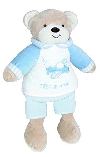 Tris&Ton Peluche osito infantil bebé niño niña, oso peluche 30 cm suave felpa modelo Osito Azul (Trisyton)