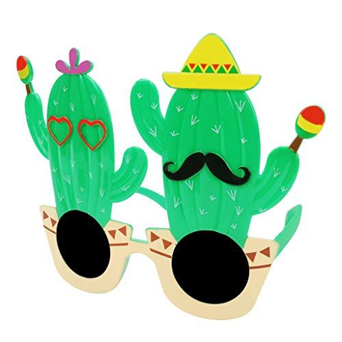 Amuzocity Gafas de Sol de Lujo, Gafas de Colores con Múltiples Formas para Las Vacaciones. - Cactus